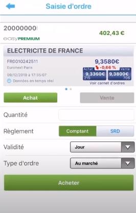 EasyBourse Application mobile