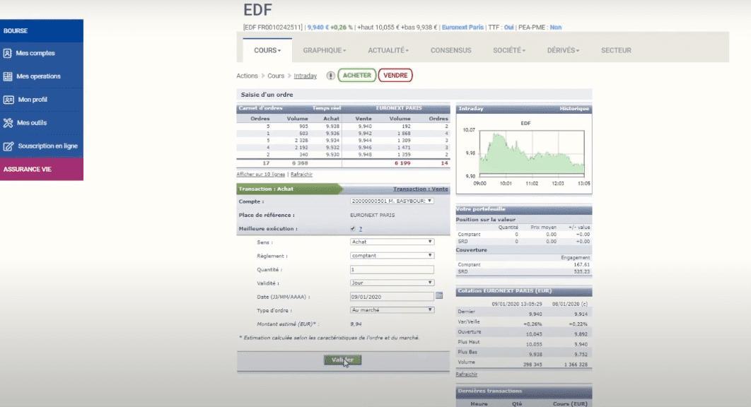 EasyBourse Plateformes de trading WebTrader