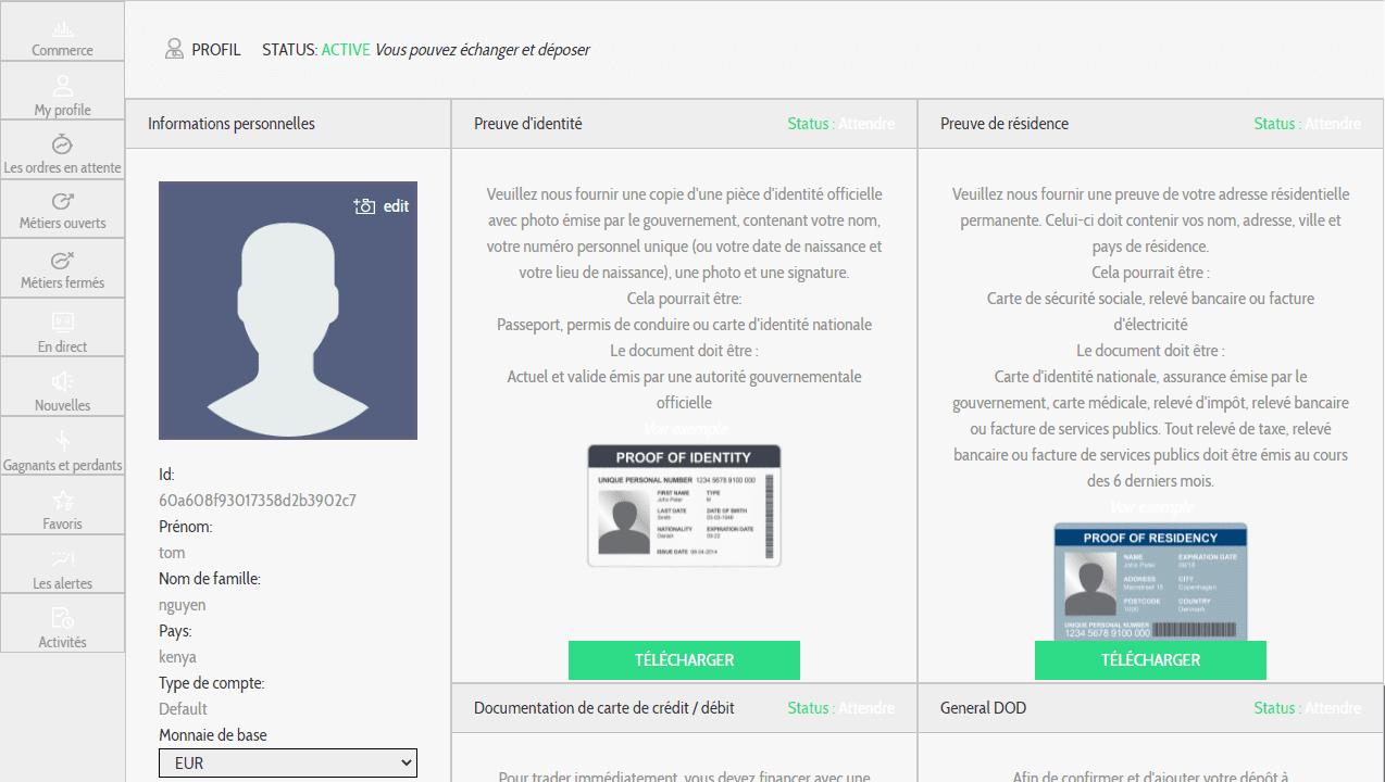 Bitcoin Evolution Comment ouvrir un compte? Mon profil