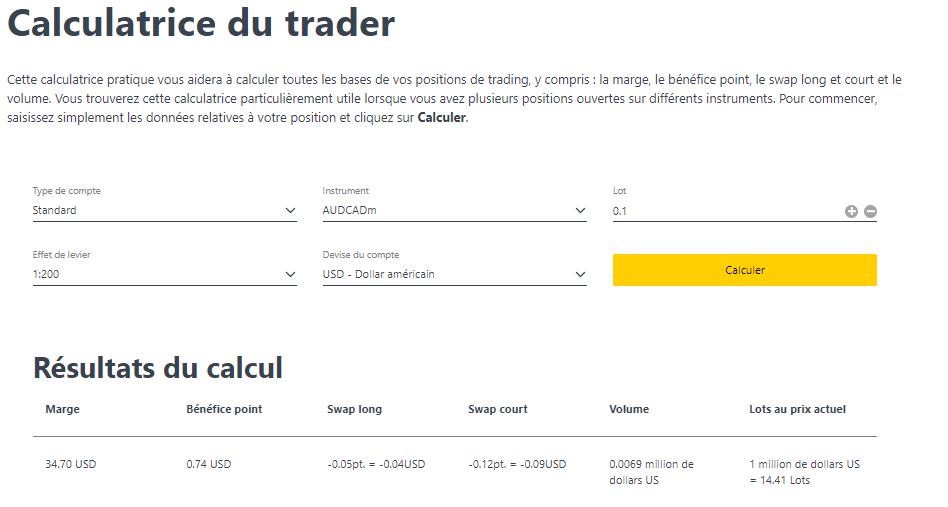 Exness Calculatrice du trader