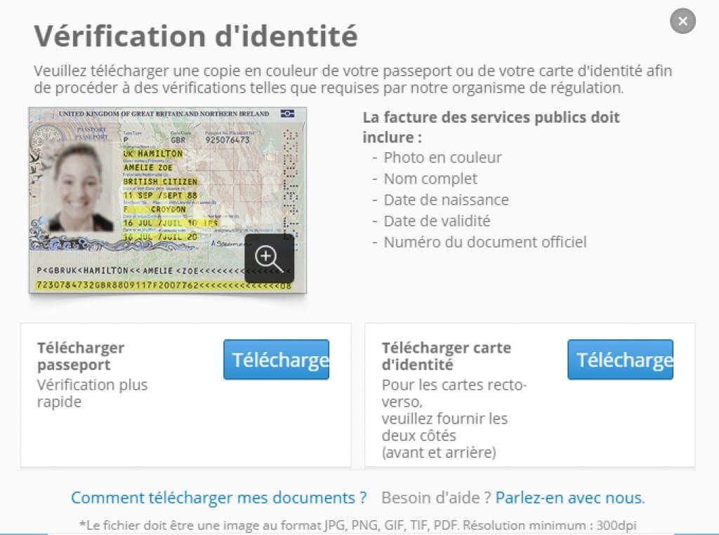 eToro verification d'identite