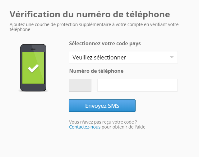 eToro verification du numbero de telephone