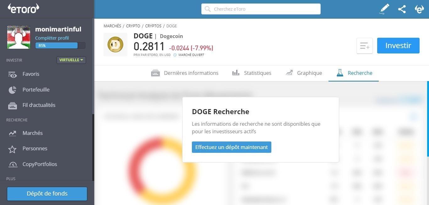 Dogecoin Analyse de marché eToro