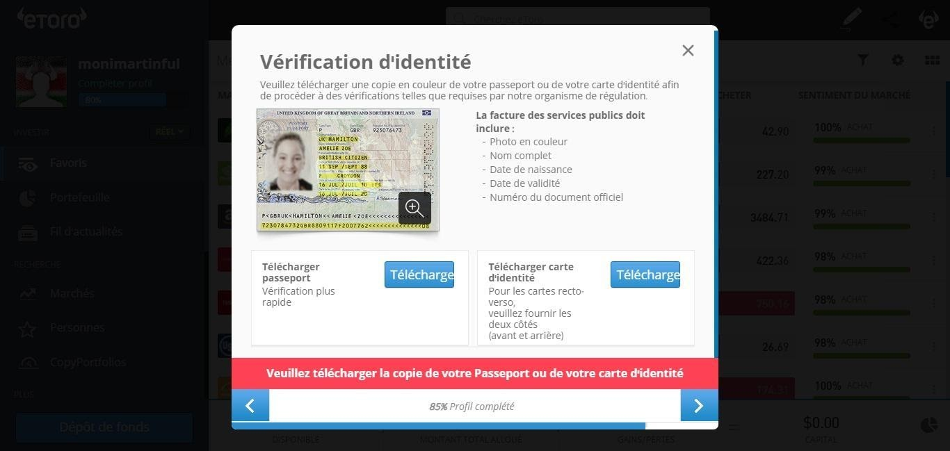 Dogecoin Vérifiez Votre Identité sur eToro