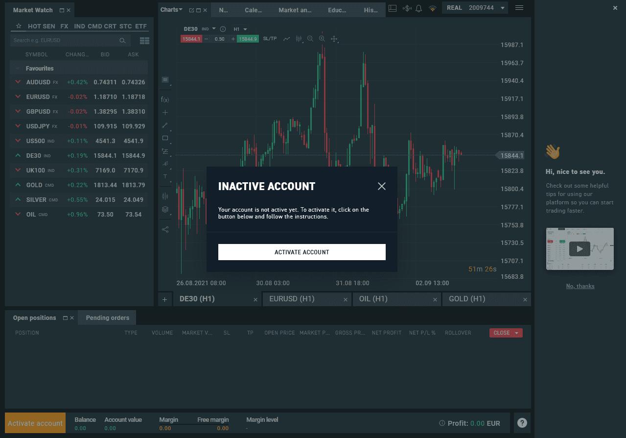 Ethereum Compte XTB actif
