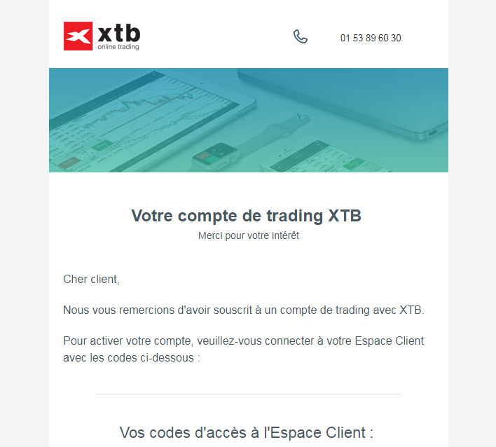 Ethereum Confirmation par e-mail pour le compte XTB